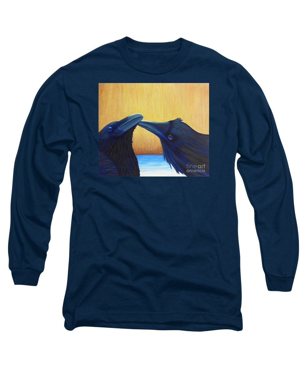 Ravens Long Sleeve T-Shirt featuring the painting K And B by Brian Commerford