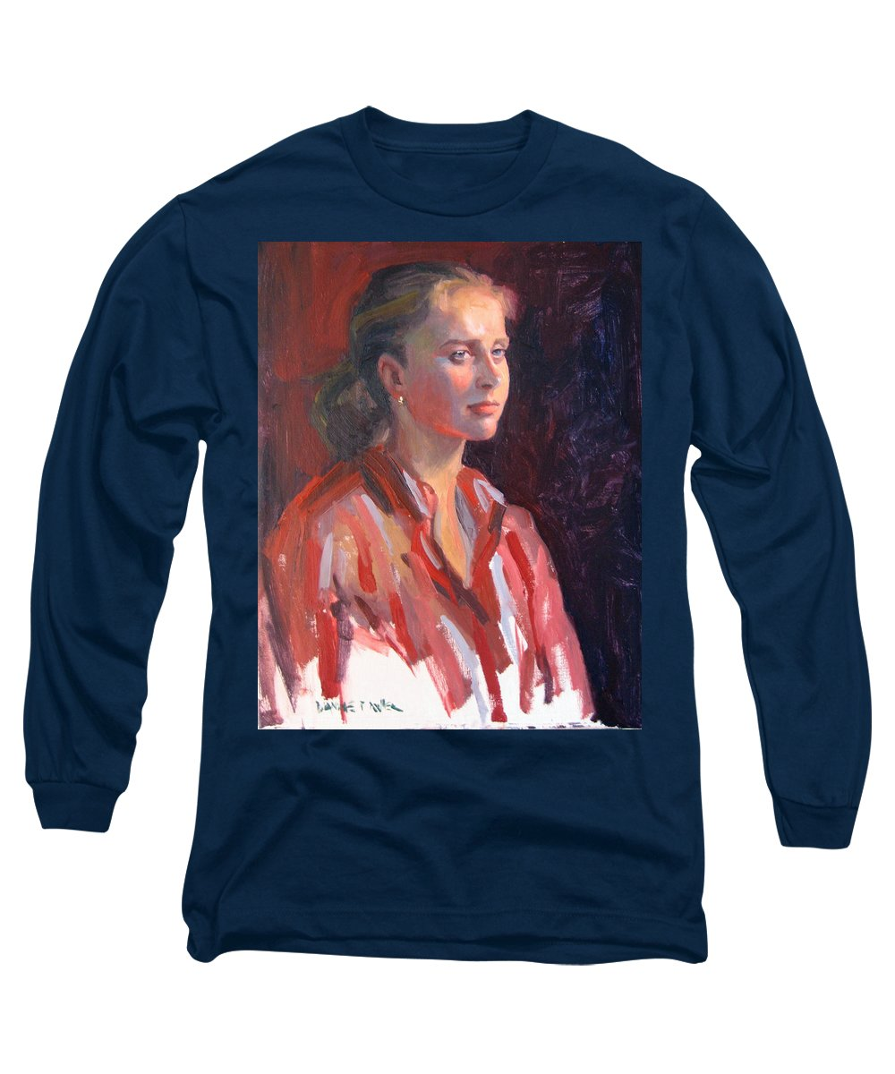 Portrait Long Sleeve T-Shirt featuring the painting Kate by Dianne Panarelli Miller