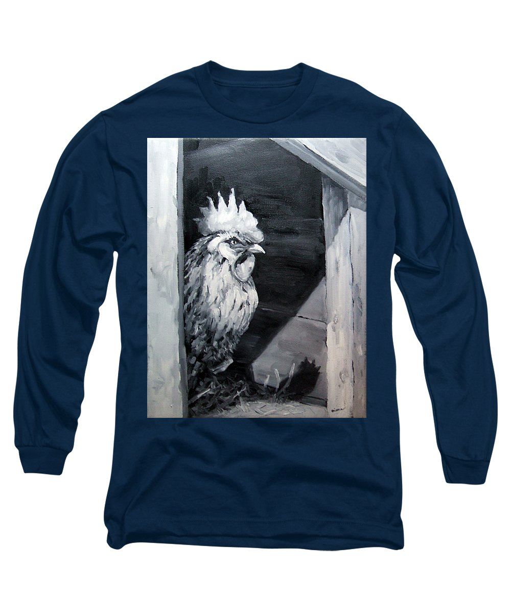 Animal Long Sleeve T-Shirt featuring the painting King Of The Roost by Diane Kraudelt