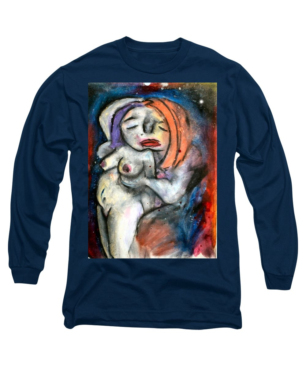 Nudes Long Sleeve T-Shirt featuring the drawing Kiss by Thomas Valentine