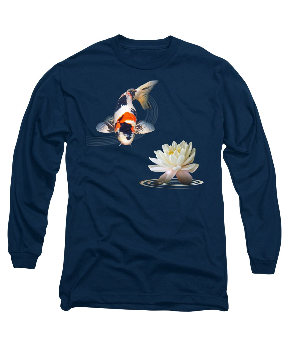 Fish Long Sleeve T-Shirt featuring the photograph Koi Carp Abstract With Water Lily Square by Gill Billington