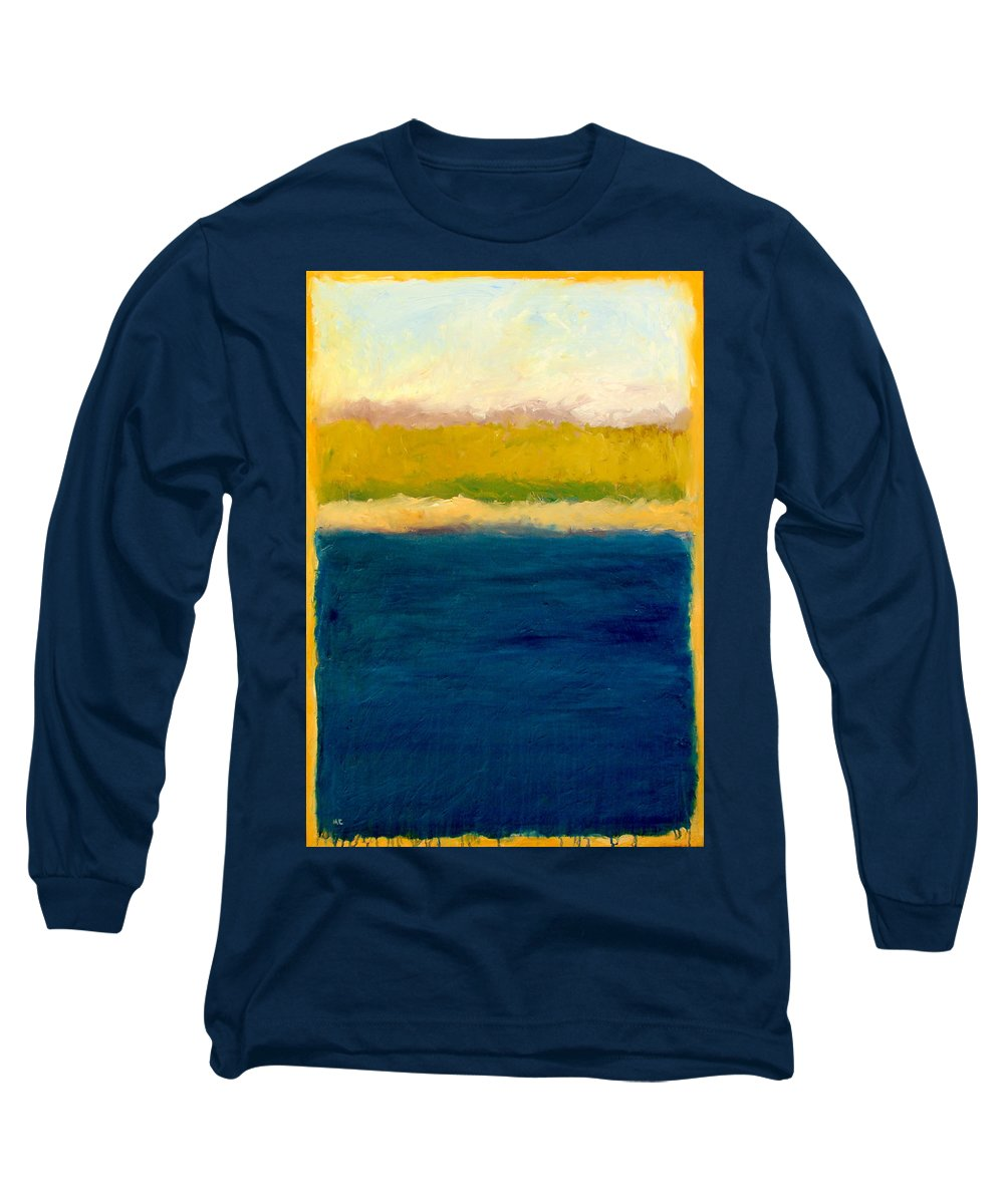 Dunes Long Sleeve T-Shirt featuring the painting Lake Michigan Beach Abstracted by Michelle Calkins