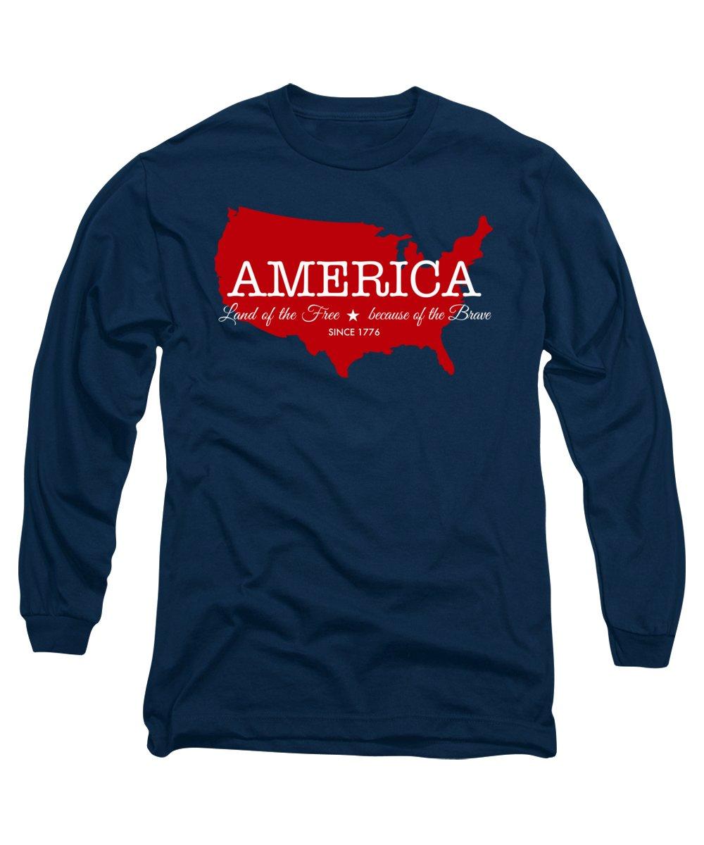 State Map Digital Art Long Sleeve T-Shirts