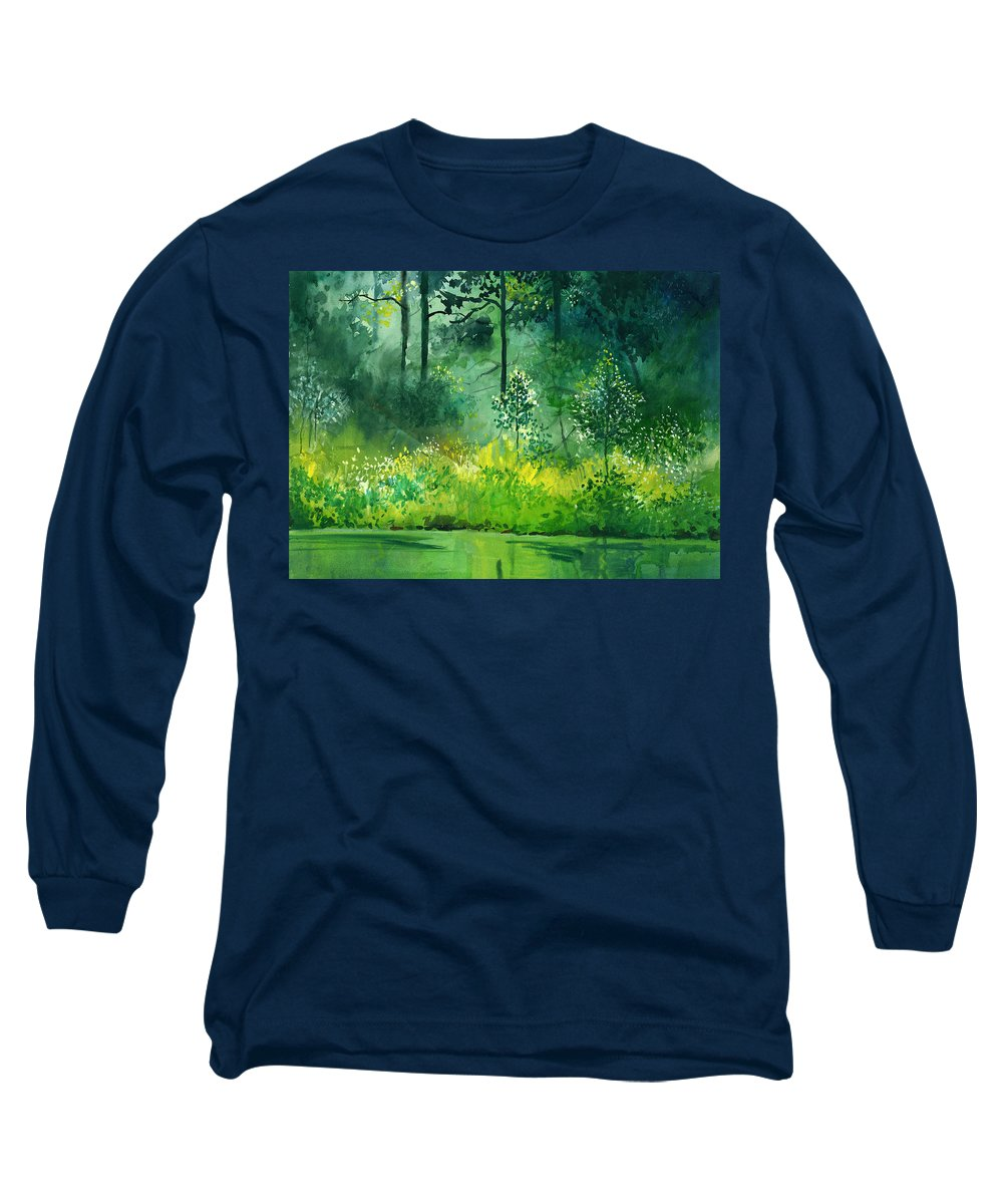 Water Long Sleeve T-Shirt featuring the painting Light N Greens by Anil Nene