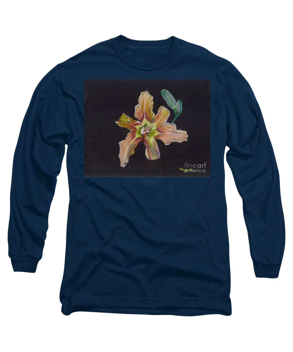 Lily Long Sleeve T-Shirt featuring the pastel Lily 2 by Mendy Pedersen