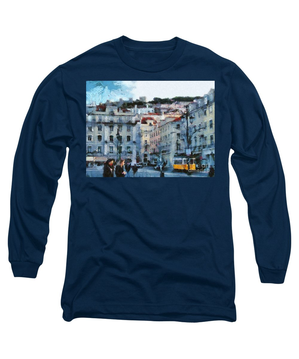 Painting Long Sleeve T-Shirt featuring the painting Lisbon Street by Dimitar Hristov