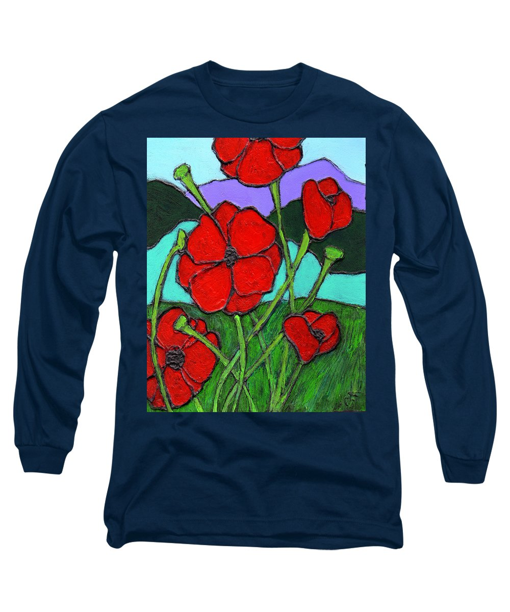Poppies Long Sleeve T-Shirt featuring the painting Looking Up by Wayne Potrafka