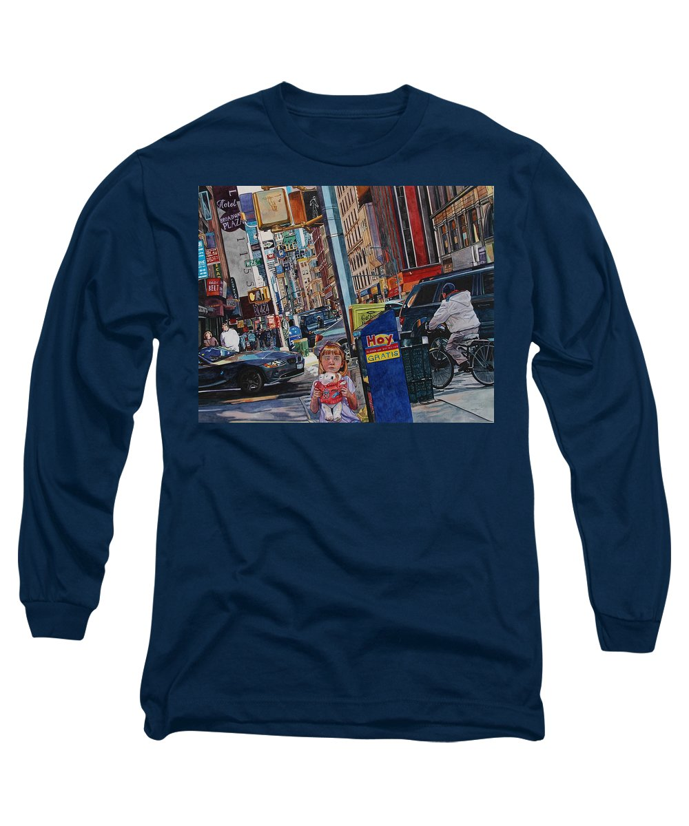 City Long Sleeve T-Shirt featuring the painting Lost by Valerie Patterson