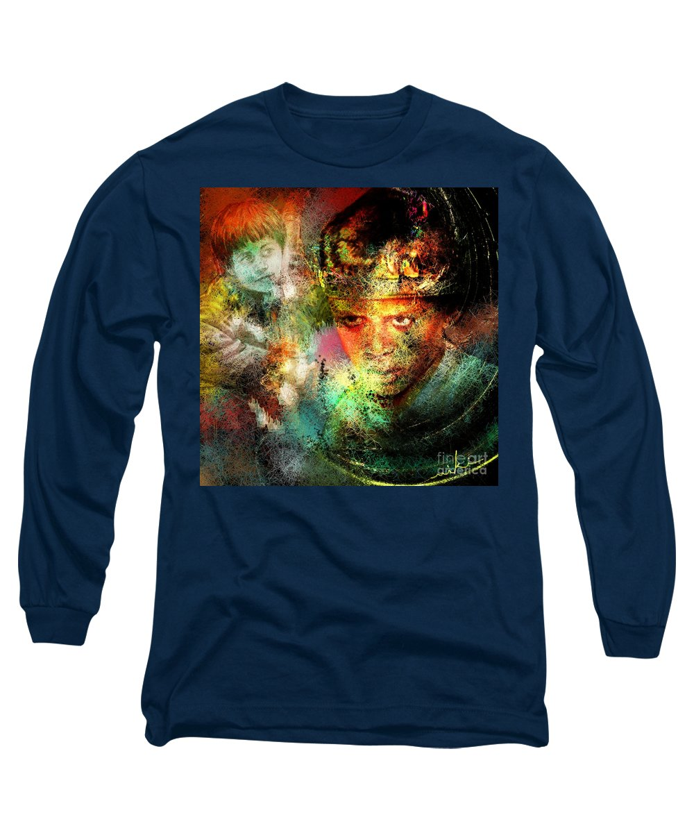 Portrait Long Sleeve T-Shirt featuring the painting Love For The Boy King by Miki De Goodaboom