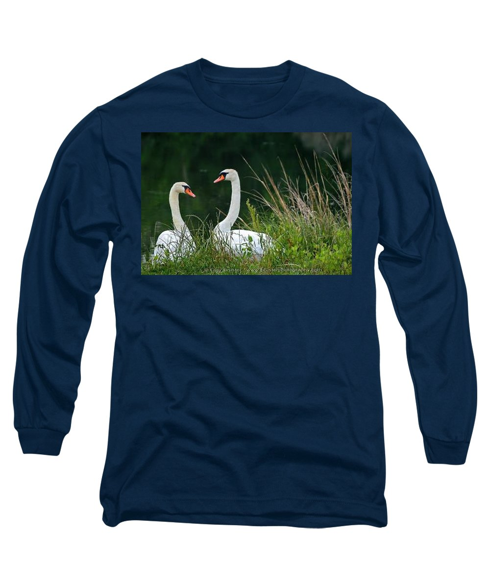 Clay Long Sleeve T-Shirt featuring the photograph Loving Swans by Clayton Bruster
