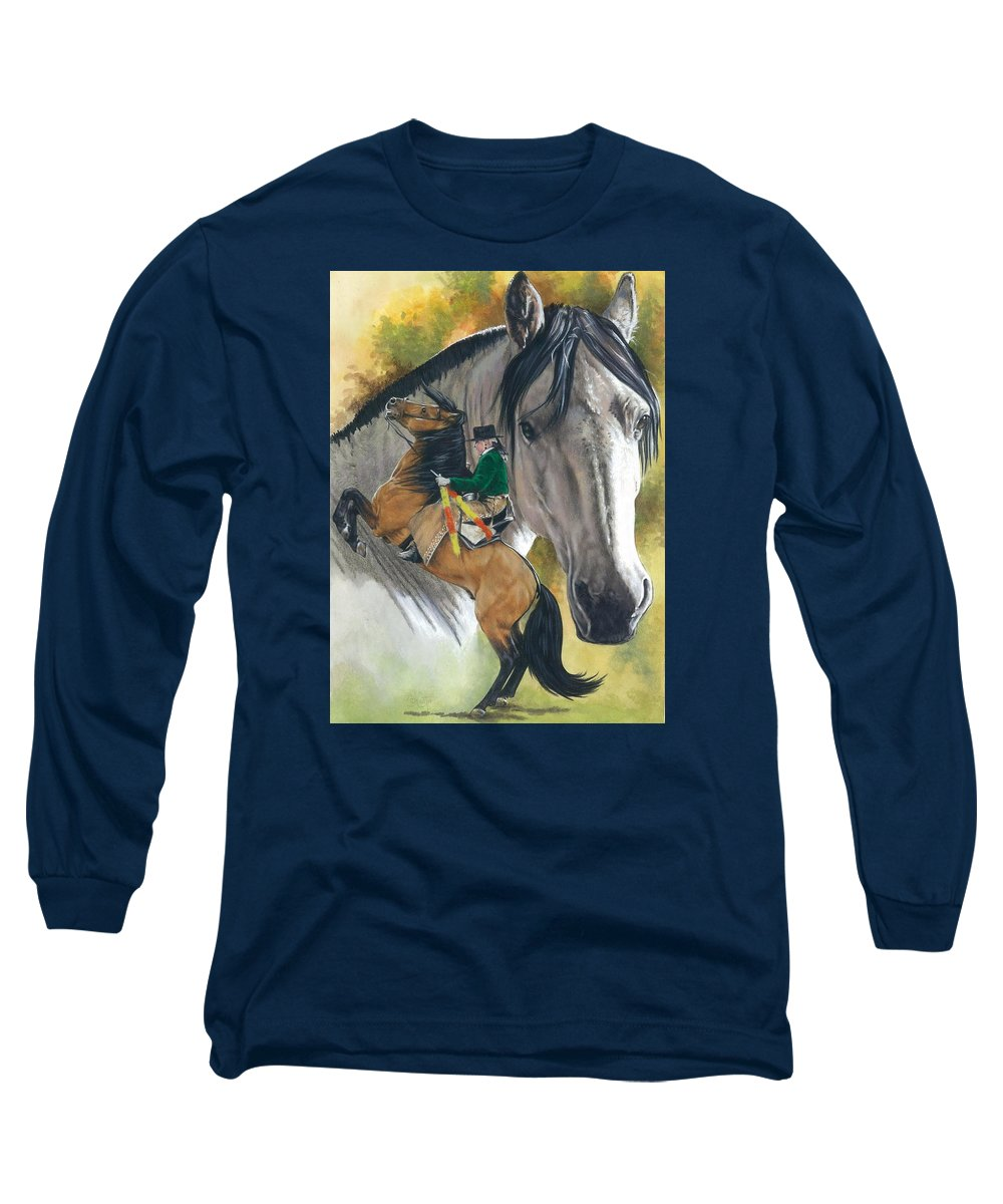 Hoof Stock Long Sleeve T-Shirt featuring the mixed media Lusitano by Barbara Keith