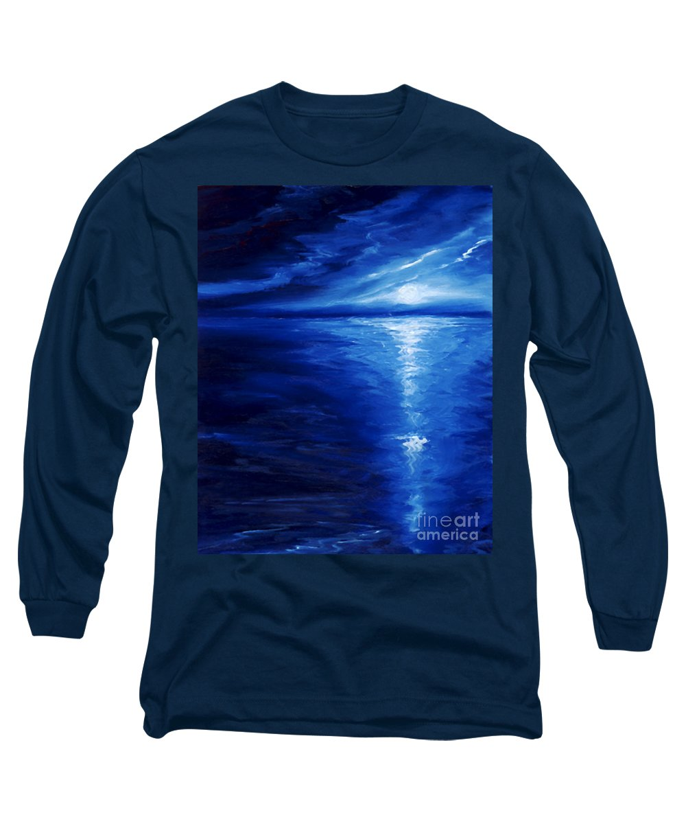 Blue Moon Long Sleeve T-Shirt featuring the painting Magical Moonlight by James Christopher Hill