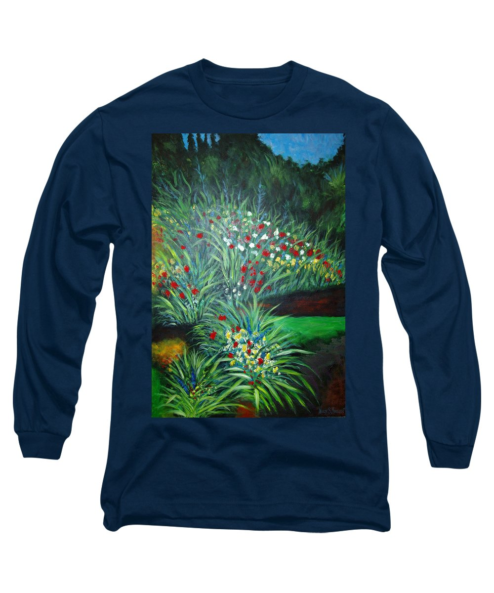 Landscape Long Sleeve T-Shirt featuring the painting Maryann's Garden 3 by Nancy Mueller
