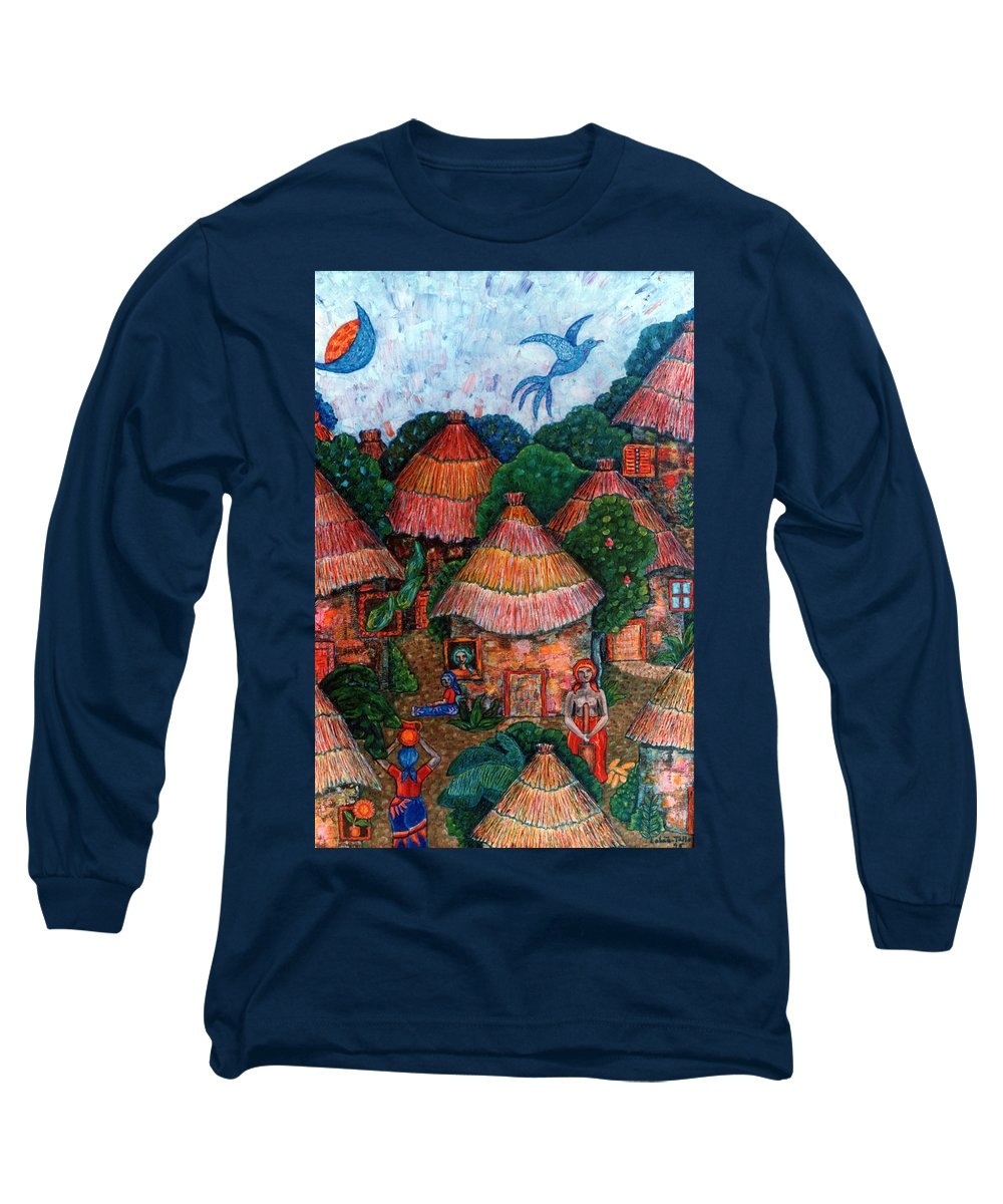 Africa Long Sleeve T-Shirt featuring the painting Maybe That Was My Country by Madalena Lobao-Tello