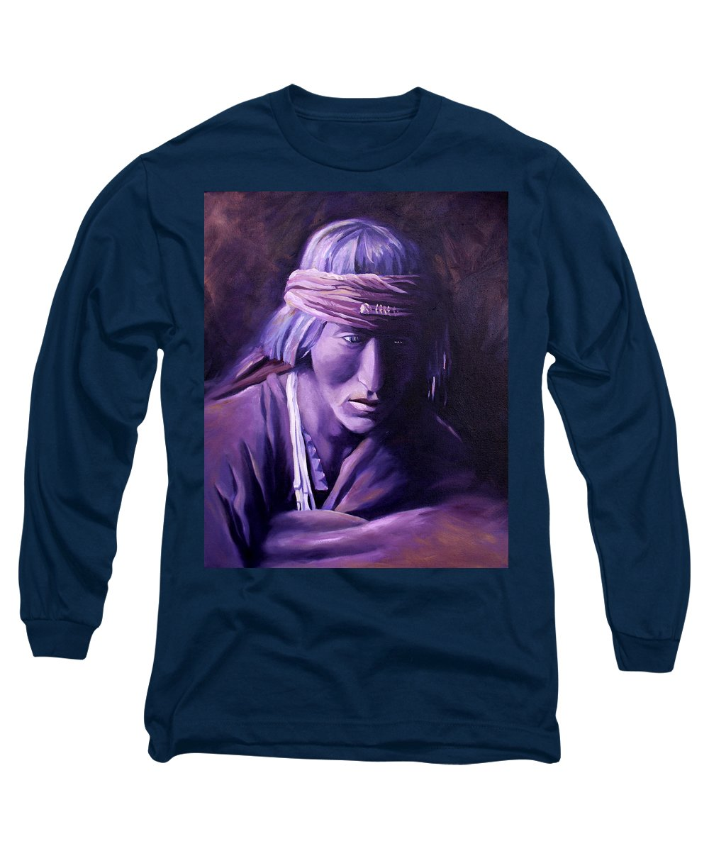 Native American Long Sleeve T-Shirt featuring the painting Medicine Man by Nancy Griswold