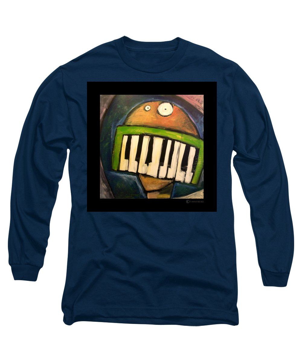 Funny Long Sleeve T-Shirt featuring the painting Melodica Mouth by Tim Nyberg