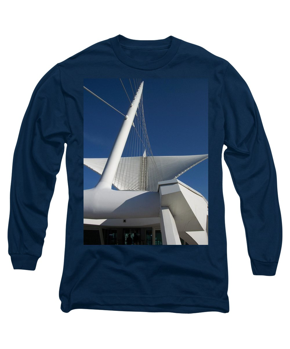 Mam Long Sleeve T-Shirt featuring the photograph Milwaukee Art Museum Cropped by Anita Burgermeister