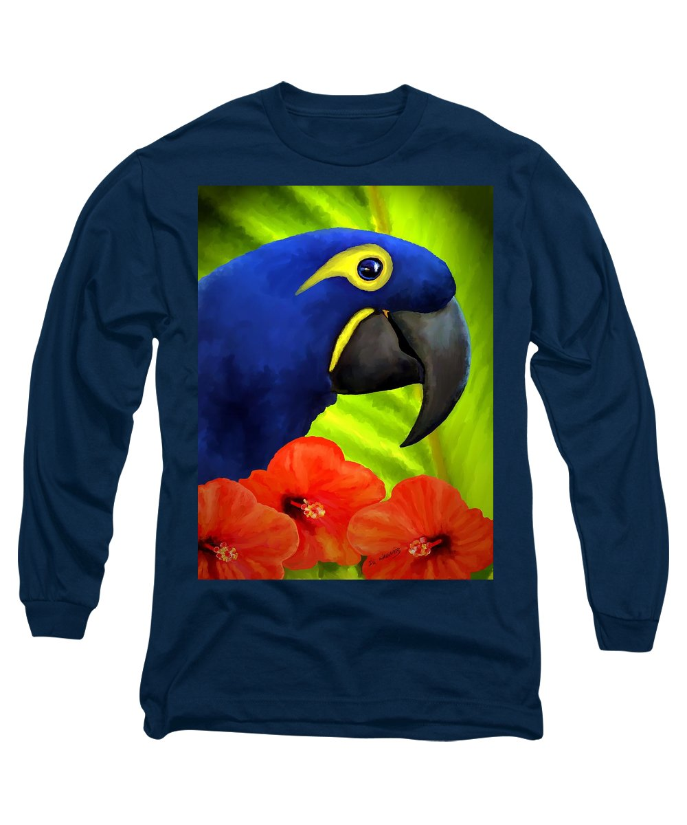 Hyacinth Macaw Long Sleeve T-Shirt featuring the painting Mimi by David Wagner