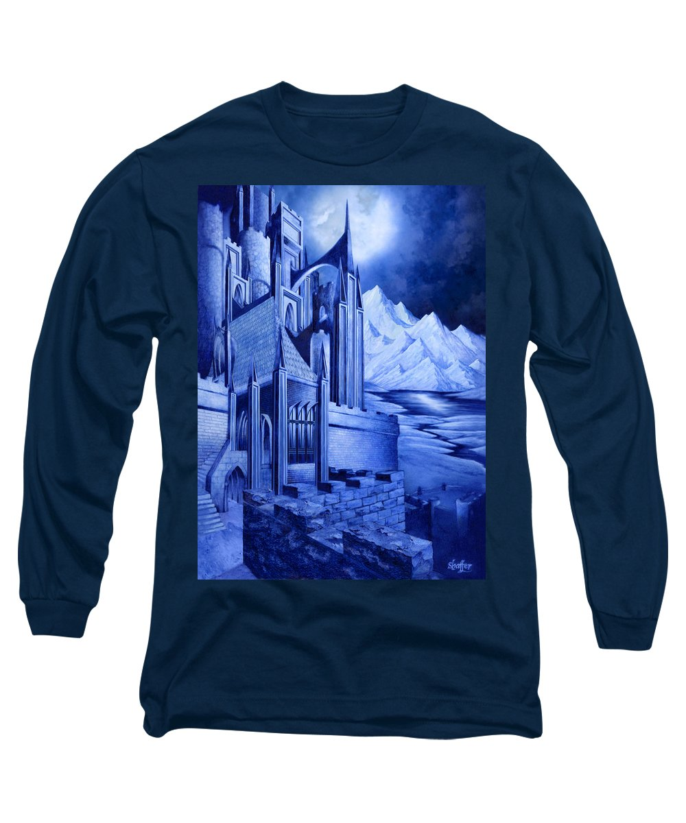 Lord Of The Rings Long Sleeve T-Shirt featuring the mixed media Minas Tirith by Curtiss Shaffer