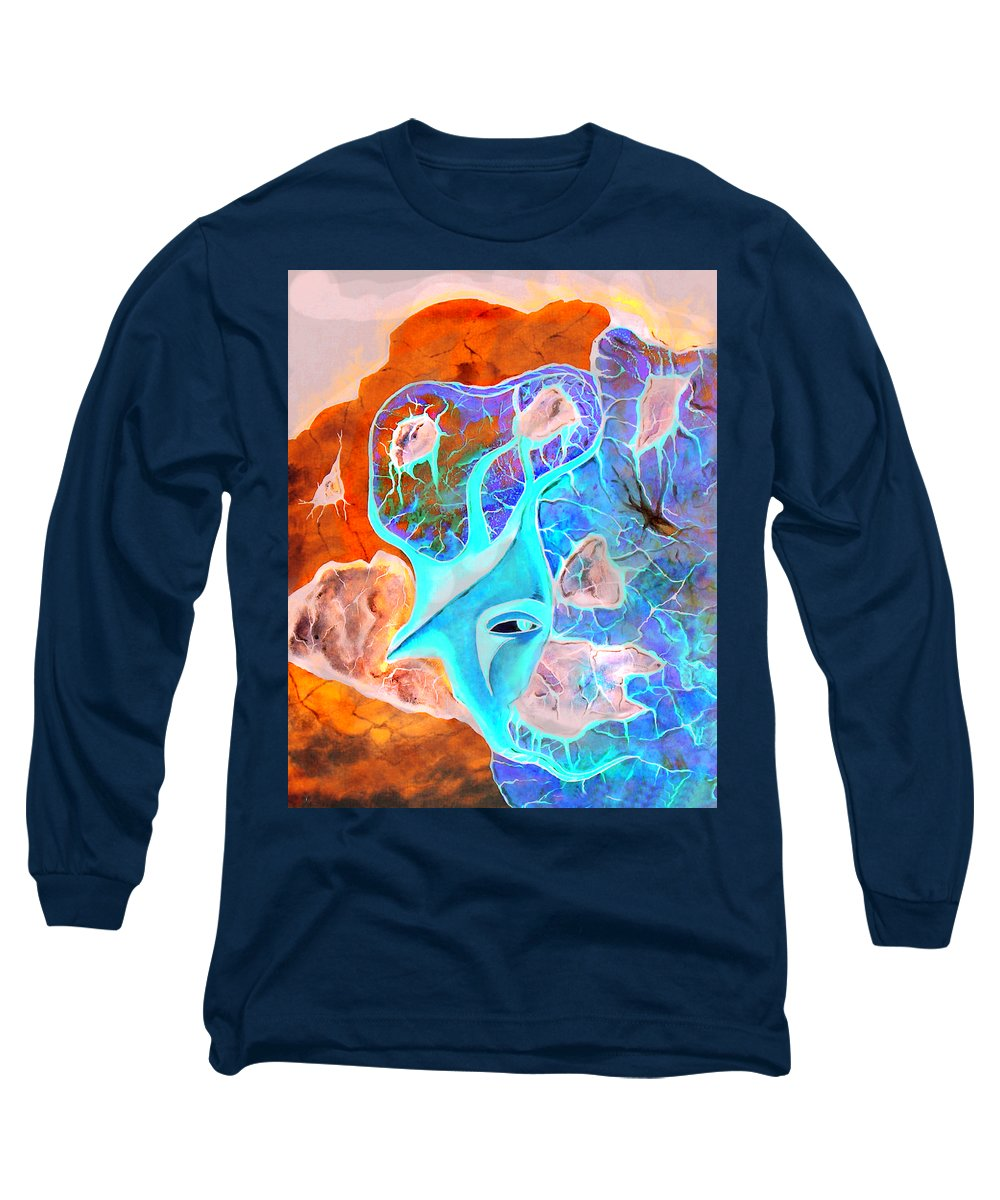 Surrealism Color Sky Haven Stones Long Sleeve T-Shirt featuring the painting More Seconds In My Head by Veronica Jackson