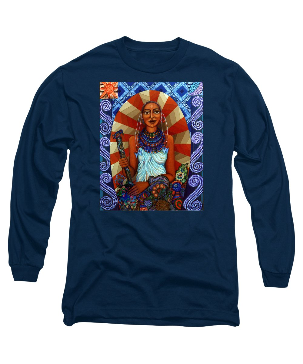 Mother Earth Long Sleeve T-Shirt featuring the painting Mother Earth by Madalena Lobao-Tello