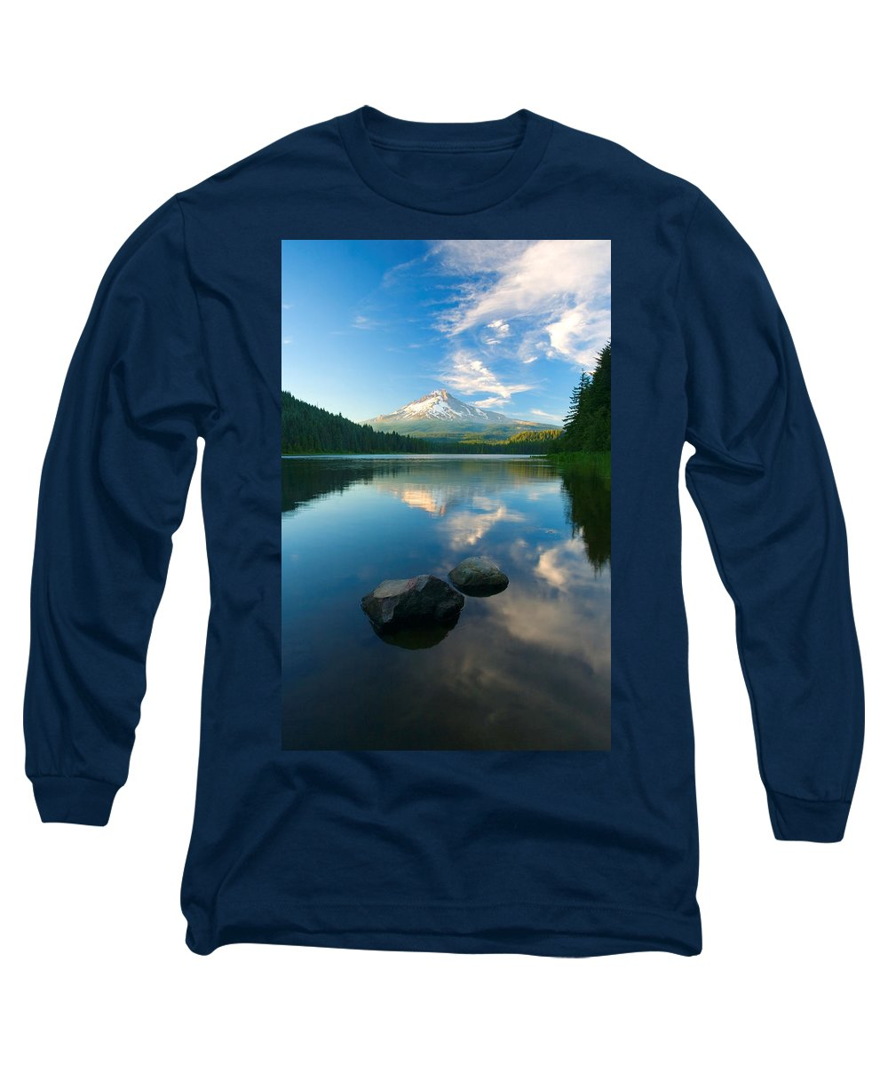 Mt. Hood Long Sleeve T-Shirt featuring the photograph Mt. Hood Cirrus Explosion by Mike Dawson