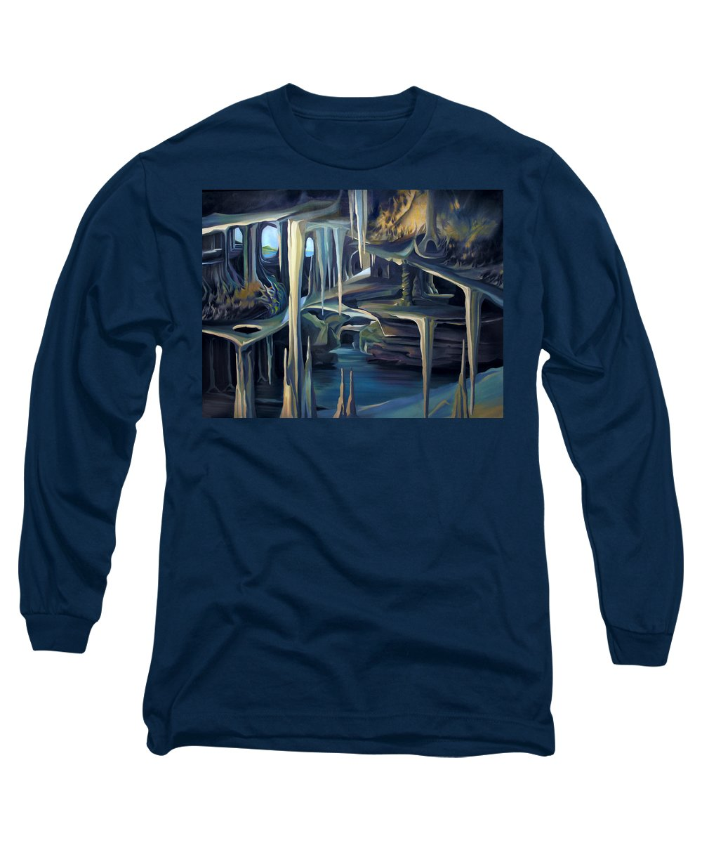 Mural Long Sleeve T-Shirt featuring the painting Mural Ice Monks In November by Nancy Griswold