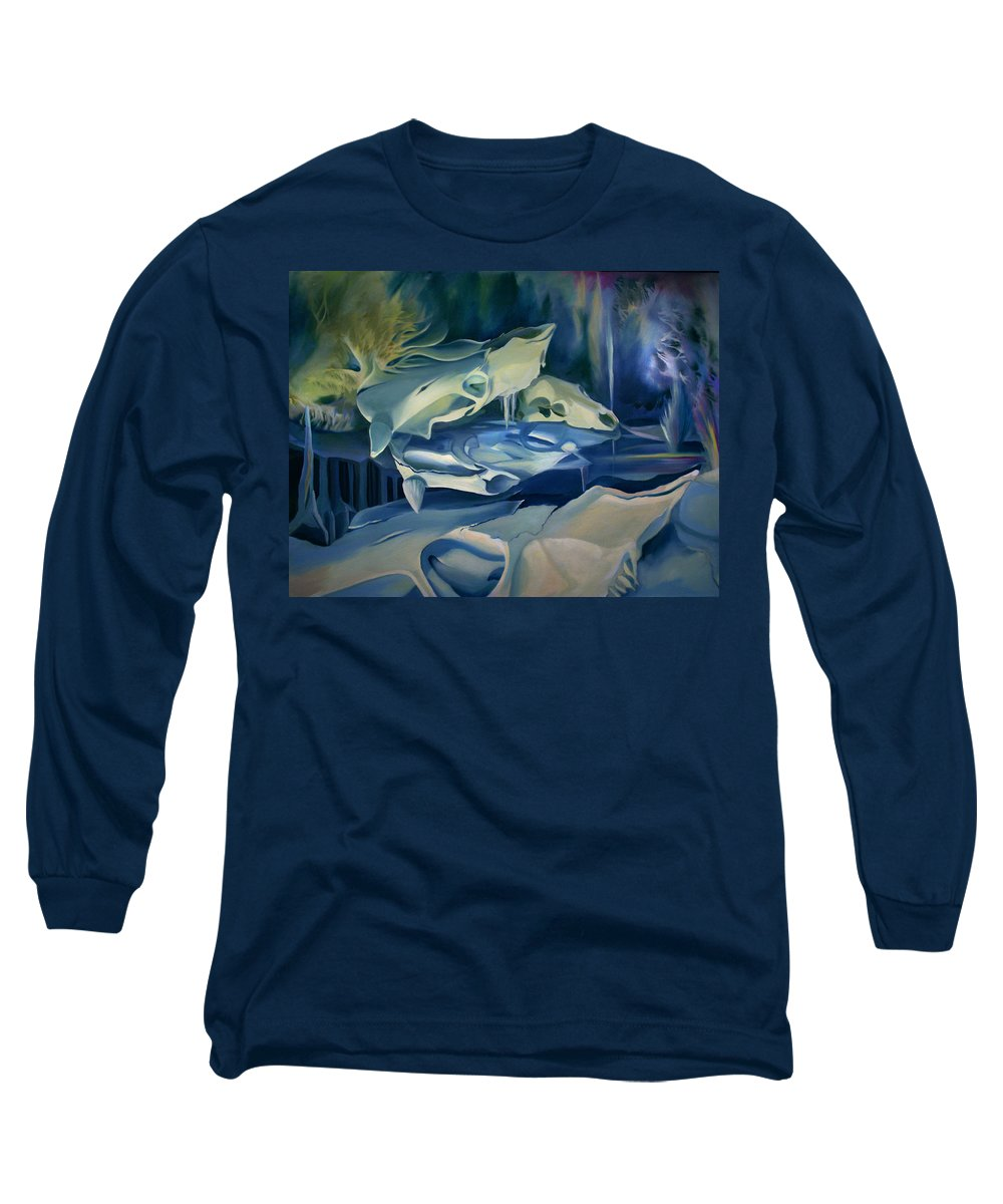 Surreal Long Sleeve T-Shirt featuring the painting Mural Skulls Of Lifes Past by Nancy Griswold
