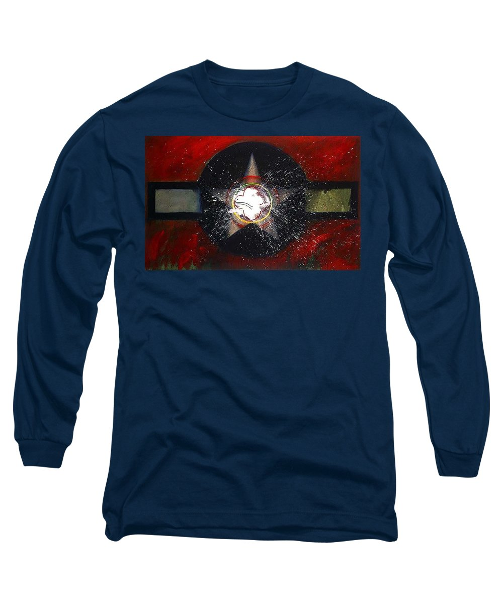 Usaaf Insignia Long Sleeve T-Shirt featuring the painting My Indian Red by Charles Stuart