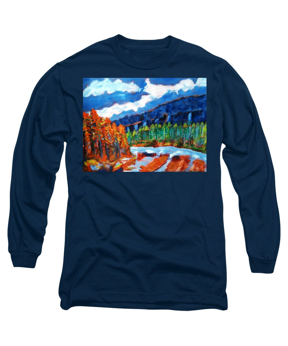 Mountains Long Sleeve T-Shirt featuring the painting Naturals by R B