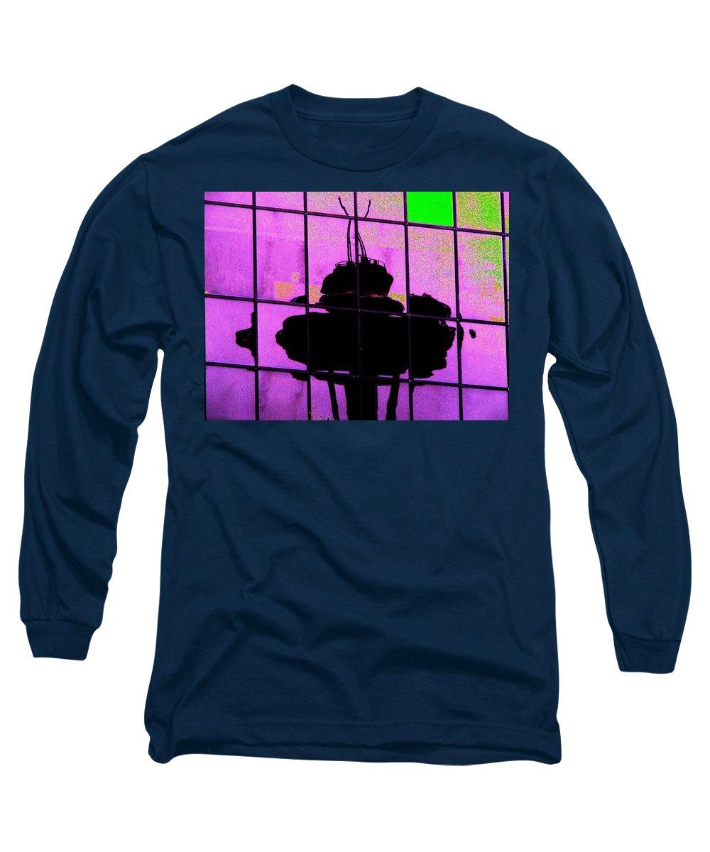 Seattle Long Sleeve T-Shirt featuring the digital art Needle Reflect 2 by Tim Allen