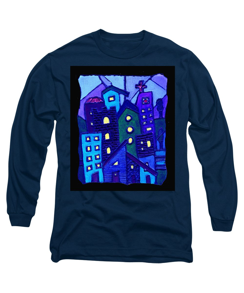 Urban Long Sleeve T-Shirt featuring the painting Neighborhood Blues by Wayne Potrafka