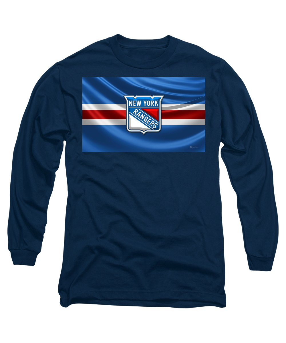 �hockey Hall Of Fame 3d� By Serge Averbukh Long Sleeve T-Shirt featuring the photograph New York Rangers - 3D Badge Over Flag by Serge Averbukh
