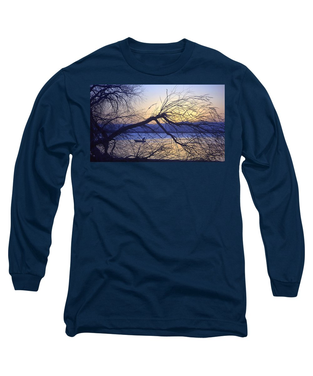 Barr Lake Long Sleeve T-Shirt featuring the photograph Night Fishing In Barr Lake Colorado by Merja Waters