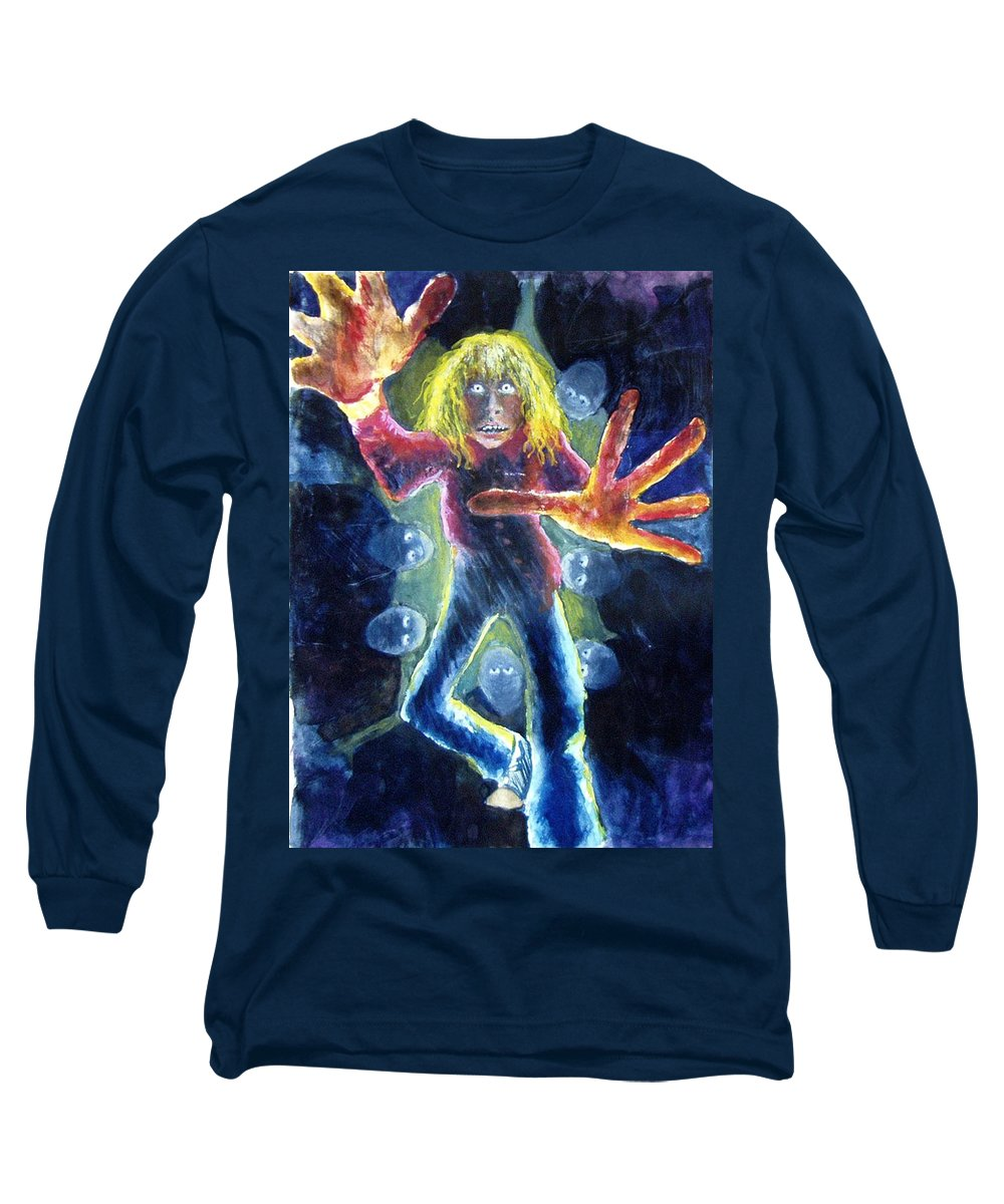 Nightmare Long Sleeve T-Shirt featuring the painting Nightmare by Nancy Mueller