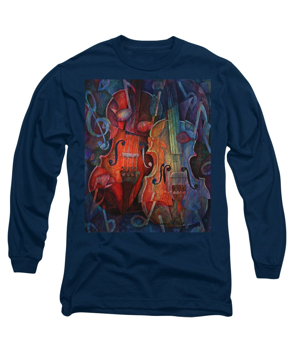 Susanne Clark Long Sleeve T-Shirt featuring the painting Noteworthy - A Viola Duo by Susanne Clark