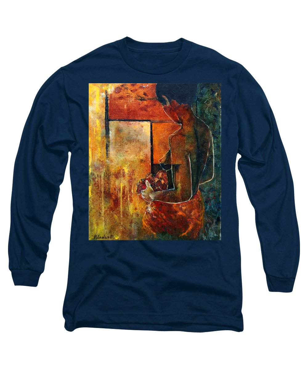 Woman Girl Fashion Nude Long Sleeve T-Shirt featuring the painting Nude by Pol Ledent