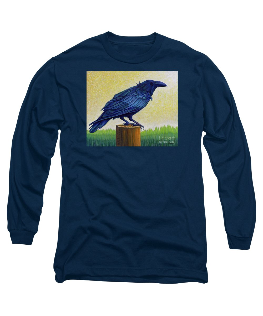 Raven Long Sleeve T-Shirt featuring the painting Old Priest In Passion by Brian Commerford