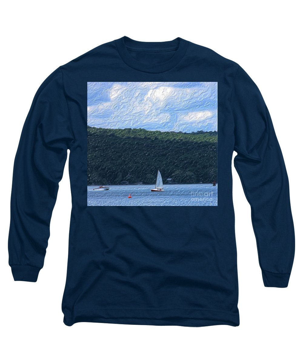 Landscape Long Sleeve T-Shirt featuring the photograph On Cayuga Lake by David Lane