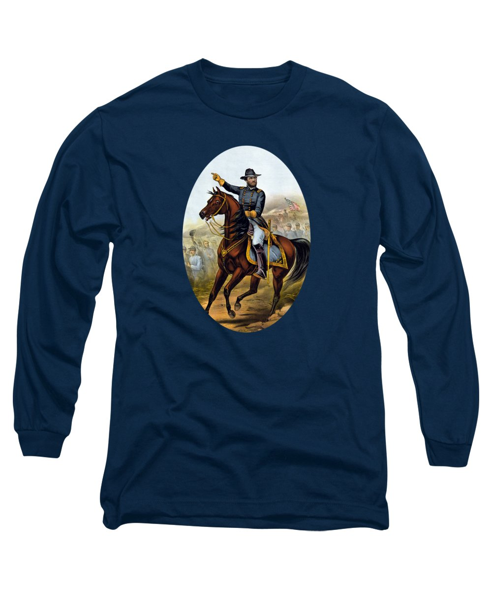 Civil War Long Sleeve T-Shirt featuring the painting Our Old Commander - General Grant by War Is Hell Store