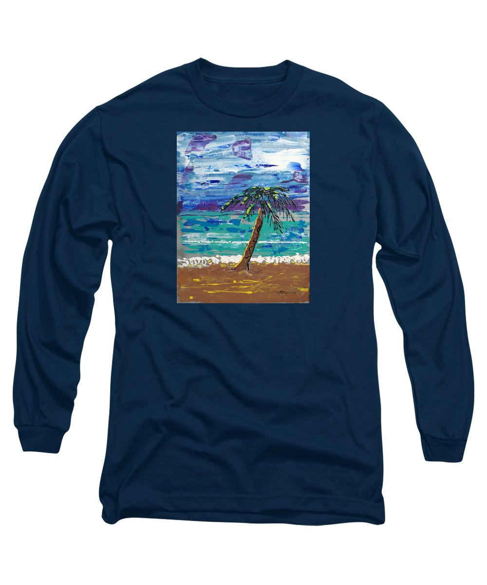 Palm Tree Long Sleeve T-Shirt featuring the painting Palm Beach by J R Seymour