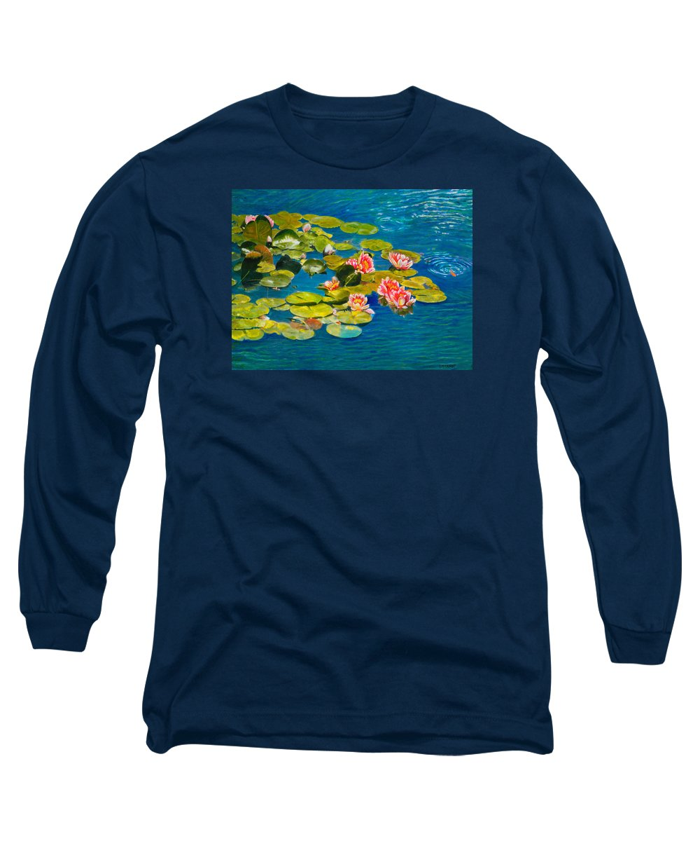 Water Lilies Long Sleeve T-Shirt featuring the painting Peaceful Belonging by Michael Durst