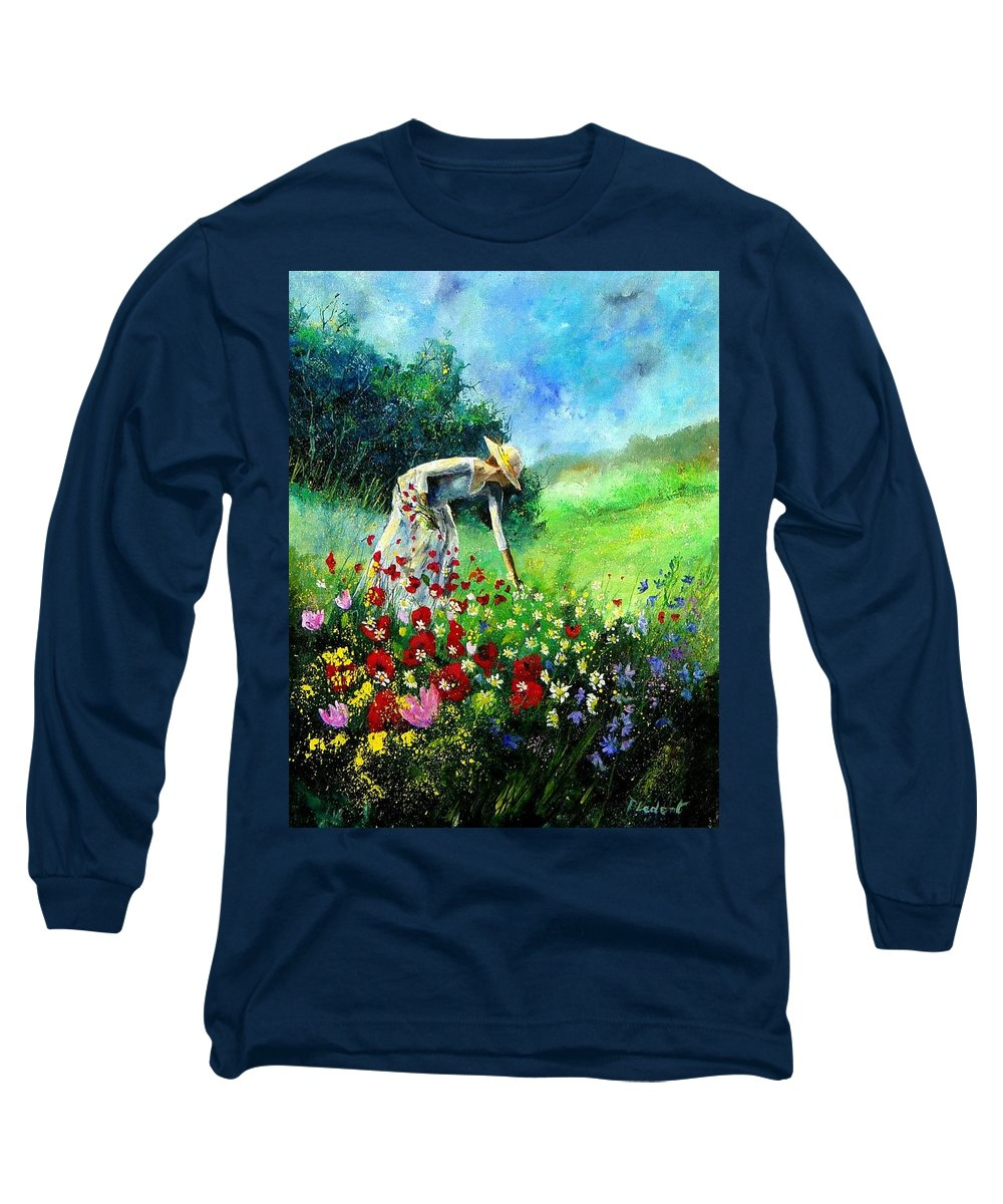 Poppies Long Sleeve T-Shirt featuring the painting Picking Flower by Pol Ledent