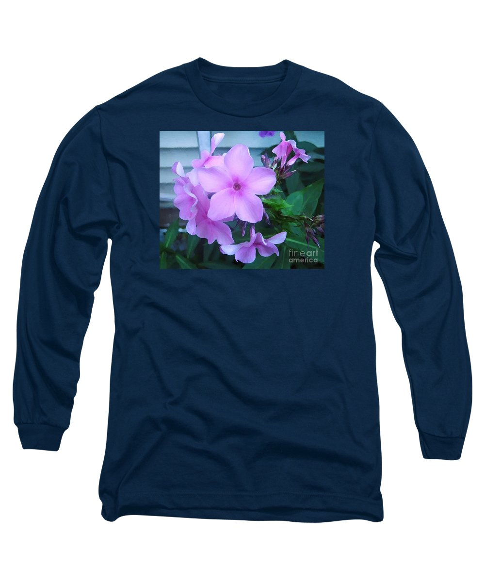 Pink Flowers Artwork Long Sleeve T-Shirt featuring the photograph Pink Flowers In The Garden by Reb Frost
