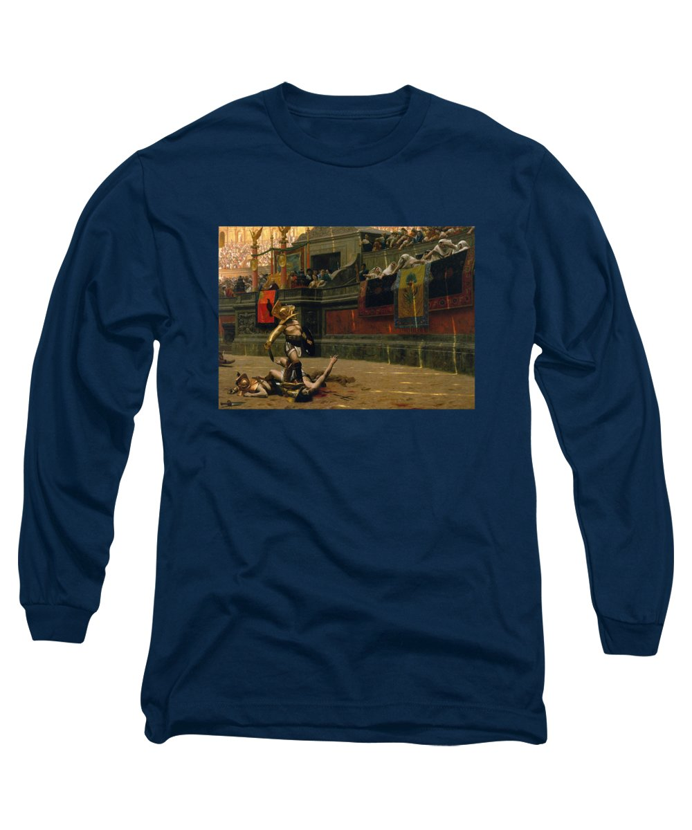 Pollice Verso Long Sleeve T-Shirt featuring the painting Pollice Verso by War Is Hell Store
