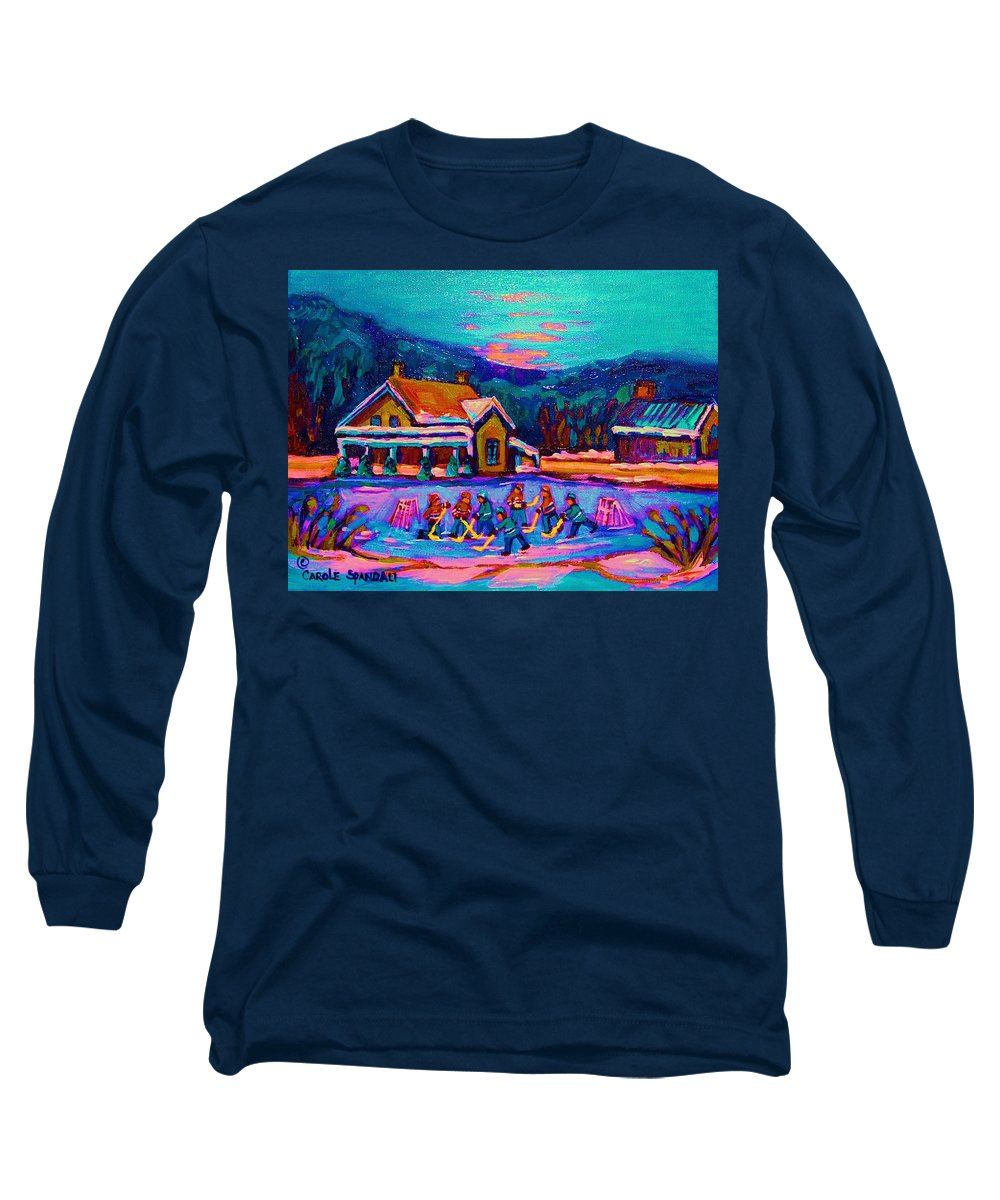 Pond Hockey Long Sleeve T-Shirt featuring the painting Pond Hockey Two by Carole Spandau