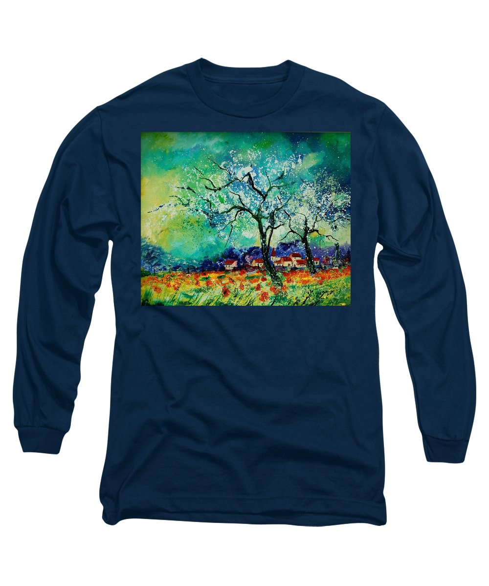 Landscape Long Sleeve T-Shirt featuring the painting Poppies And Appletrees In Blossom by Pol Ledent