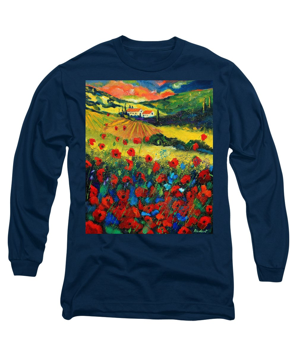 Flowers Long Sleeve T-Shirt featuring the painting Poppies In Tuscany by Pol Ledent
