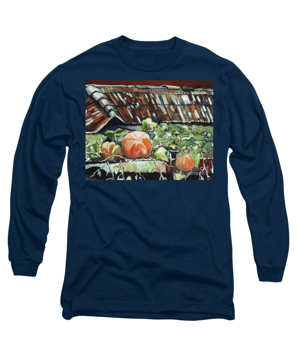 Pumpkin Paintings Long Sleeve T-Shirt featuring the painting Pumpkins On Roof by Seon-Jeong Kim