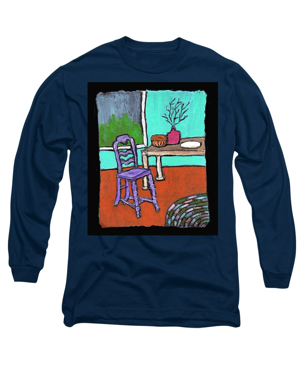 Purple Long Sleeve T-Shirt featuring the painting Purple Chair by Wayne Potrafka
